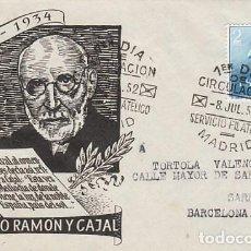Sellos: EDIFIL 1119, SANTIAGO RAMÓN Y CAJAL, PRIMER DIA DE 8-7-1952. Lote 185717463