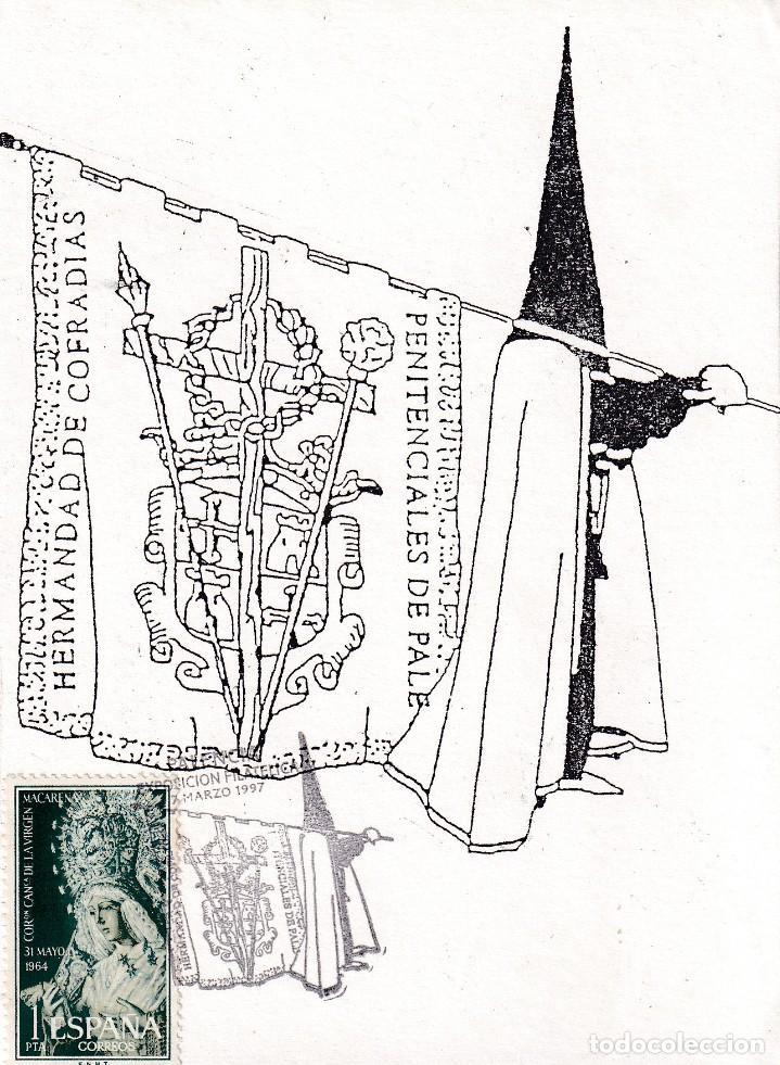 RELIGION SEMANA SANTA HERMANDAD DE COFRADIAS, PALENCIA 1997. RARO MATASELLOS EN TARJETA ILUSTRADA. (Sellos - Historia Postal - Sello Español - Sobres Primer Día y Matasellos Especiales)