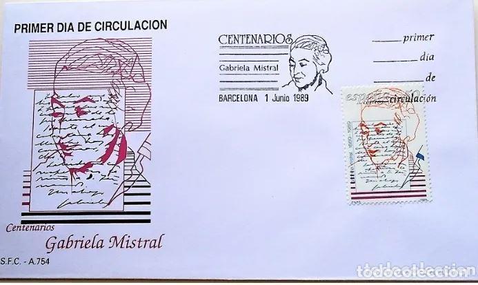 SPD ESPAÑA 1989 ED. 3013 CENTENARIOS: GABRIELA MISTRAL. SOBRE MATASELLO PRIMER DÍA (Sellos - Historia Postal - Sello Español - Sobres Primer Día y Matasellos Especiales)