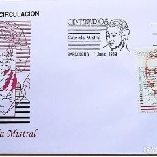 Sellos: SPD ESPAÑA 1989 ED. 3013 CENTENARIOS: GABRIELA MISTRAL. SOBRE MATASELLO PRIMER DÍA. Lote 186292858