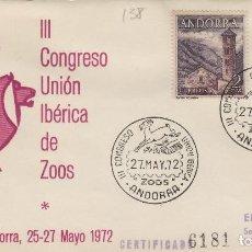 Sellos: 1972 ANDORRA ESPAÑOLA . III CONGRESO UNION IBERICA DE ZOOS . SOBRE ALFIL. Lote 186368020