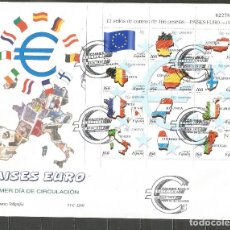 Sellos: ESPAÑA PAISES DEL EURO SOBRE PRIMER DIA CIRCULACION HOJA BLOQUE EDIFIL NUM. 3632/3643. Lote 221877786