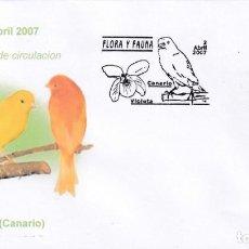 Francobolli: CANARICULTURA CANARIO FLORA Y FAUNA 2007 (EDIFIL 4301) EN SOBRE PRIMER DIA BONITA Y RARA ILUSTRACION. Lote 187113352