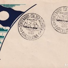 Sellos: BARCOS CIA TRASATLANTICA CENTENARIO, BARCELONA 1950. MATASELLOS MOD 1 SOBRE SIN CIRCULAR EG RARO ASI. Lote 187538153