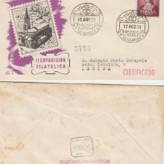 Sellos: AÑO 1951, TORRELAVEGA (CANTABRIA), SEGUNDA EXPOSICION FILATELICA, SOBRE DE PANFILATELICAS CIRCULADO. Lote 188494575