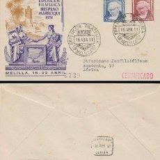 Sellos: AÑO 1951, MELILLA, EXPOSICION FILATELICA HISPANO MARROQUI, SOBRE DE PANFILATELICAS CIRCULADO. Lote 188496610