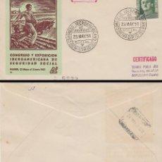 Sellos: AÑO 1951, CONGRESO IBEROAMERICANO DE SEGURIDAD SOCIAL EN MADRID, SOBRE DE PANFILATELICAS CIRCULADO. Lote 188571125