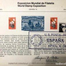 Sellos: DOS TARJETAS BILINGUE EXPOSICION DE FILATELIA 1975. EEUU-ESPAÑA.. Lote 190056528
