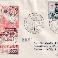 Timbres: RELIGION AÑO SANTO, SANTIAGO DE COMPOSTELA (LA CORUÑA) 1954. RARO MATASELLOS SOBRE CIRCULADO DP MPM . Lote 190087902