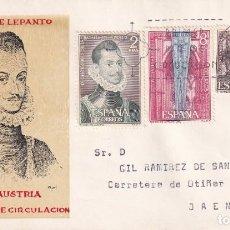 Sellos: IV CENTENARIO DE LA BATALLA DE LEPANTO 1971 (EDIFIL 2055/57) EN SOBRE PRIMER DIA SERVICIO FILATELICO. Lote 190288677