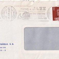 Sellos: MUSICA JAZZ FESTIVAL DE SAN SEBASTIAN (GUIPUZCOA) 1984. MATASELLOS DE RODILLO EN CARTA. GMPM.. Lote 75631367