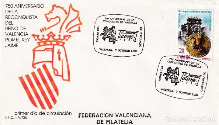 RARO SELLO PERFORADO.RECONQUISTA VALENCIA JAIME I 750 ANIV 1988 (EDIFIL 2967) SPD DEL SFC VALENCIA. (Sellos - Historia Postal - Sello Español - Sobres Primer Día y Matasellos Especiales)