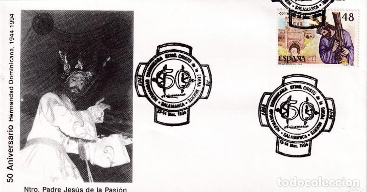 RELIGION SEMANA SANTA HERMANDAD DOMINICANA, SALAMANCA 1994. MATASELLOS EN RARO SOBRE ILUSTRADO MOD 2 (Sellos - Historia Postal - Sello Español - Sobres Primer Día y Matasellos Especiales)