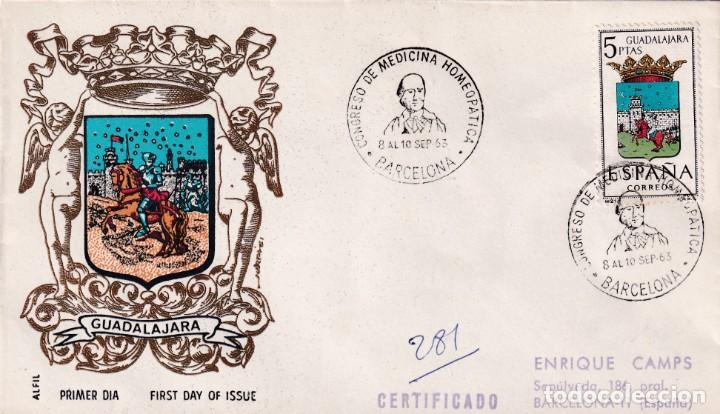 HOMEOPATIA V CONGRESO MEDICINA HOMEOPATICA, BARCELONA 1963. RARO MATASELLOS EN SOBRE CIRCULADO. (Sellos - Historia Postal - Sello Español - Sobres Primer Día y Matasellos Especiales)
