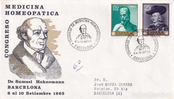 HOMEOPATIA V CONGRESO MEDICINA HOMEOPATICA, BARCELONA 1963. RARO MATASELLOS EN SOBRE CIRCULADO ALFIL (Sellos - Historia Postal - Sello Español - Sobres Primer Día y Matasellos Especiales)