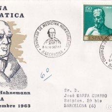 Sellos: HOMEOPATIA V CONGRESO MEDICINA HOMEOPATICA, BARCELONA 1963. RARO MATASELLOS EN SOBRE CIRCULADO ALFIL. Lote 190874187