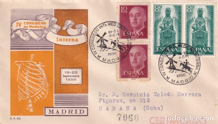 DON QUIJOTE IV CONGRESO MEDICINA INTERNA, MADRID 1956. RARO MATASELLOS EN SOBRE CIRCULADO DE DP. MPM (Sellos - Historia Postal - Sello Español - Sobres Primer Día y Matasellos Especiales)