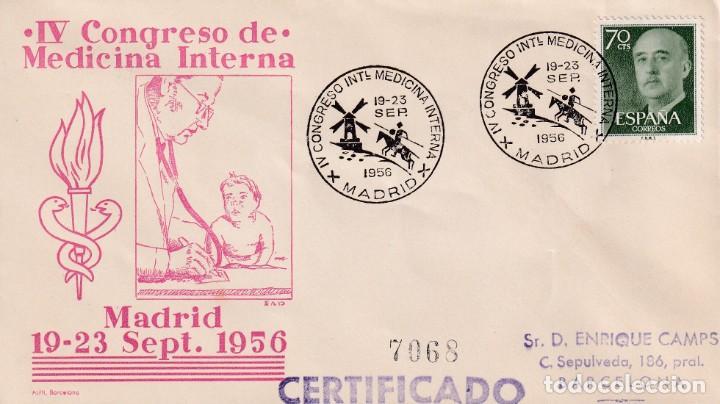 DON QUIJOTE IV CONGRESO MEDICINA INTERNA, MADRID 1956. RARO MATASELLOS EN SOBRE CIRCULADO ALFIL. MPM (Sellos - Historia Postal - Sello Español - Sobres Primer Día y Matasellos Especiales)