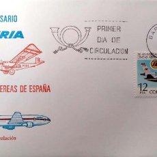 Sellos: ESPAÑA. 2448 COMPAÑÍA IBERIA: AVIONES ROHRBACH. 1977. MATASELLO PRIMER DÍA DE BARCELONA. Lote 191307315