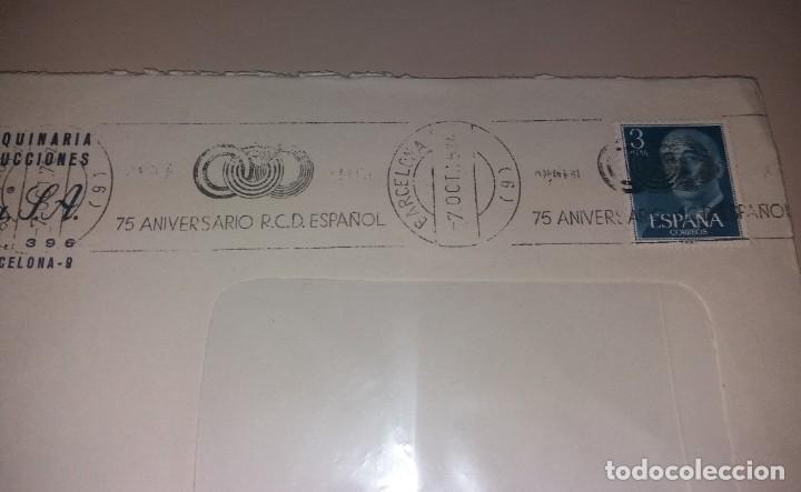 Sellos: Matasellos de rodillo. 75 aniversario R.C.D. Español (RCD Espanyol), con sobre, 1975 - Foto 2 - 191409128