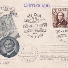 Sellos: TRENES CENTENARIO DEL FERROCARRIL 1948 (EDIFIL 1037 DOS SELLOS) SOBRE PRIMER DIA CIRCULADO EG. RARO.. Lote 191932188