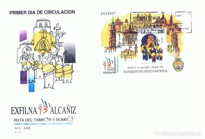 SOBRE PRIMER DÍA DE CIRCULACIÓN EXFILNA 93 ALCAÑIZ (Sellos - Historia Postal - Sello Español - Sobres Primer Día y Matasellos Especiales)