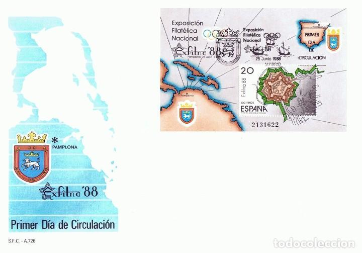 SOBRE PRIMER DÍA DE CIRCULACIÓN EXFILNA´88 PAMPLONA (Sellos - Historia Postal - Sello Español - Sobres Primer Día y Matasellos Especiales)