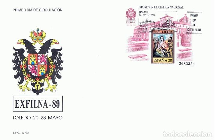 SOBRE PRIMER DÍA DE CIRCULACIÓN EXFILNA - 89 TOLEDO (Sellos - Historia Postal - Sello Español - Sobres Primer Día y Matasellos Especiales)