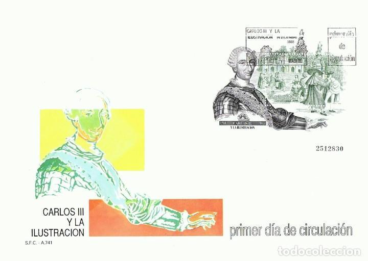 SOBRE PRIMER DÍA DE CIRCULACIÓN CARLOS III Y LA ILUSTRACION 1988 (Sellos - Historia Postal - Sello Español - Sobres Primer Día y Matasellos Especiales)