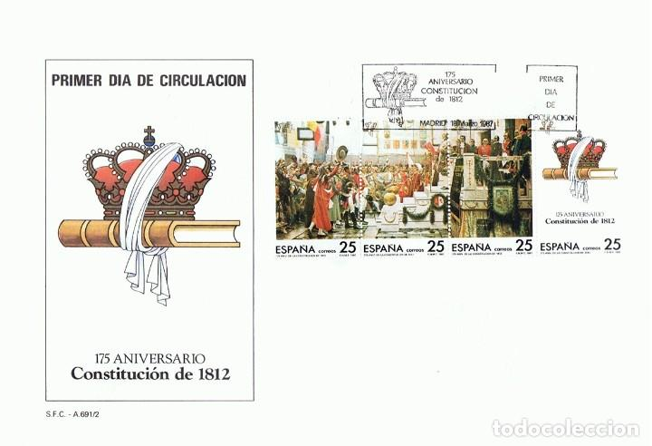 SOBRE PRIMER DÍA DE CIRCULACIÓN 175 ANIVERSARIO CONSTITUCIÓN DE 1812 (Sellos - Historia Postal - Sello Español - Sobres Primer Día y Matasellos Especiales)