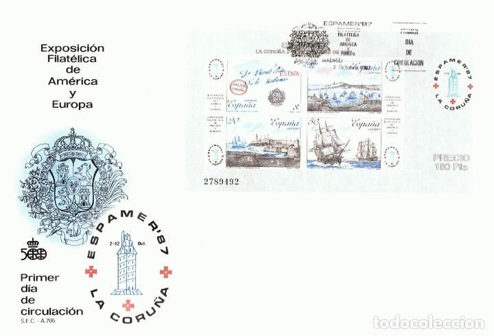 SOBRE PRIMER DÍA DE CIRCULACIÓN ESPAMER´87 LA CORUÑA (Sellos - Historia Postal - Sello Español - Sobres Primer Día y Matasellos Especiales)