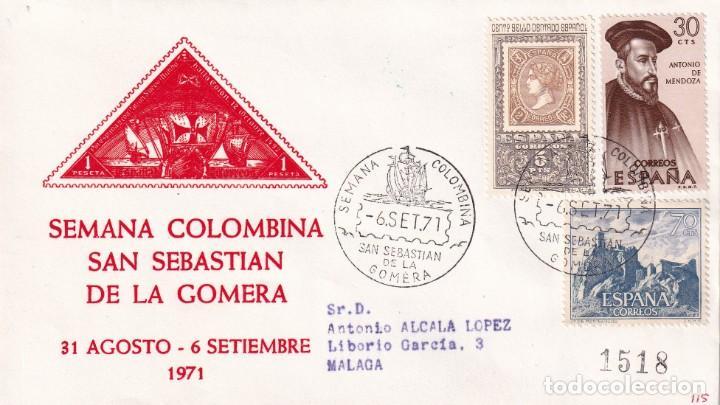 BARCOS COLON SEMANA COLOMBINA, SAN SEBASTIAN GOMERA (CANARIAS) 1971. RARO MATASELLOS SOBRE ALFIL MPM (Sellos - Historia Postal - Sello Español - Sobres Primer Día y Matasellos Especiales)