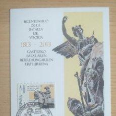 Sellos: SELLOS 2013 POSTAL SELLADA BICENTENARIO DE LA BATALLA DE VITORIA 1813 2013. Lote 194288041