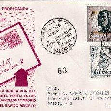 Sellos: PIDA PONGAN EL Nº DEL DISTRITO POSTAL EN LAS CARTAS, VALENCIA 1964. MATASELLOS SOBRE CIRCULADO ALFIL. Lote 194338375