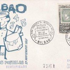 Sellos: EL CARTERO PIDA PONGAN Nº DEL DISTRITO POSTAL EN LAS CARTAS, BILBAO (VIZCAYA) 1965. MATASELLOS RARO . Lote 194338843