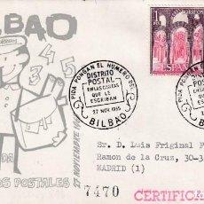 Sellos: EL CARTERO PIDA PONGAN Nº DEL DISTRITO POSTAL EN LAS CARTAS, BILBAO (VIZCAYA) 1965. MATASELLOS RARO . Lote 194338890