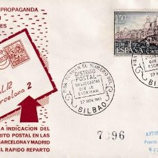 Sellos: PIDA PONGAN EL Nº DEL DISTRITO POSTAL EN LAS CARTAS, BILBAO (VIZCAYA) 1965. RARO MATASELLOS EN SOBRE. Lote 194338978