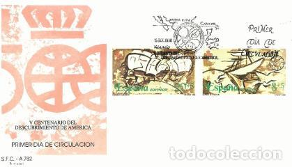 2 SOBRES PRIMER DÍA CIRCULACIÓN. V CENTENARIO DESCUBRIMIENTO DE AMERICA SFC – A. 782 DE 1990 (Sellos - Historia Postal - Sello Español - Sobres Primer Día y Matasellos Especiales)