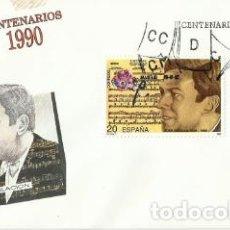 Sellos: PRIMER DÍA DE CIRCULACIÓN CENTENARIOS HIJAS DE LA CARIDAD Y COMPOSITOR JUAN PADILLA. 1990.. Lote 194341088
