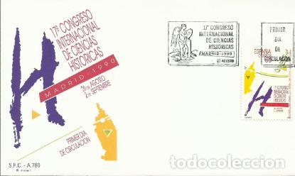 SOBRE PRIMER DÍA – 17 CONGRESO INTERNACIONAL DE CIENCIAS HISTÓRICAS. LOGOTIPO. 1990 (Sellos - Historia Postal - Sello Español - Sobres Primer Día y Matasellos Especiales)