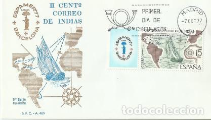 SOBRE PRIMER DÍA –II CENTº CORREO DE INDIAS 1977 (Sellos - Historia Postal - Sello Español - Sobres Primer Día y Matasellos Especiales)