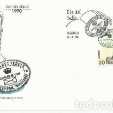 Sellos: SOBRE PRIMER DÍA –DIA DEL SELLO 1990 R. ALVAREZ SEREIX. CARTERO PRINCIPAL HONORARIO. Lote 194348968