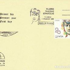 Sellos: EDIFIL 2989, MUJERES FAMOSAS ESPAÑOLAS: MARIA DE MAEZTU, PRIMER DIA DE 7-2-1989 IRIS MUNDUS. Lote 194603606