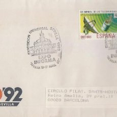 Sellos: AÑO 1988, EXPOSICION UNIVERSAL DE SEVILLA, EXPO 92, INFORMA, RODILLO SEVILLA, SOBRE COMERCIAL LA EXP. Lote 194603990