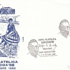 Sellos: AÑO 1988, TELESFORO DE ARANZADI, MATASELLO DE SAN SEBASTIAN, SOBRE DE FLASH. Lote 194604138