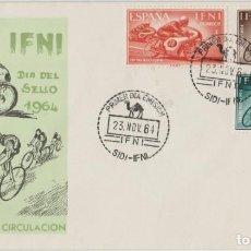 Sellos: LOTE X- SOBRE IFNI SELLOS 1964 CICLISMO MOTOCICLISMO. Lote 194622828
