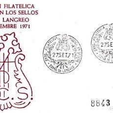 Sellos: LA MUSICA EN LOS SELLOS, SAMA DE LANGREO (ASTURIAS) 1971. RARO MATASELLOS SOBRE CIRCULADO ALFIL. MPM. Lote 194627190