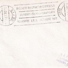 Sellos: EMIGRACION ESPAÑOLA IV CONGRESO, GIJON (ASTURIAS) 1971. RARO MATASELLOS RODILLO EN SOBRE. MPM.. Lote 194627317