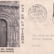 Sellos: PAZ EN LA TIERRA EXPOSICION FILATELICA, MIERES (ASTURIAS) 1972. RARO MATASELLOS SOBRE ILUSTRADO. MPM. Lote 194630997