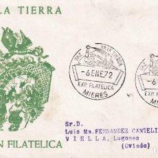 Sellos: PAZ EN LA TIERRA EXPOSICION FILATELICA, MIERES (ASTURIAS) 1972. RARO MATASELLOS EN SOBRE ALFIL. MPM. Lote 194631235